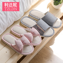 Linen slippers home ladies summer indoor couple non-slip deodorant cotton linen floor home cool slippers men summer