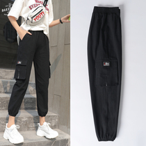 Overalls women loose bf style hip-hop Korean version of the trend harem pants high waist leg students leisure sports pants