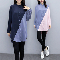 Plus size womens 2020 new spring fat sister Korean shirt long paragraph loose design niche shirt