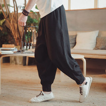 Linen pants mens pants loose China wind hanging pants large size casual cotton and linen nine pants small feet pants