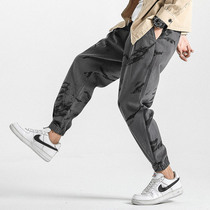 Net red men tide pai gow pants men fall Chinese wind pants mens casual trousers men loose feet sports pants