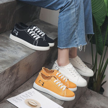 2019 spring new black canvas shoes female students Korean version of the low to help wild Harajuku board shoes ins tide cloth shoes