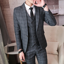 Spring and autumn new trend plaid suit three suit male British gentleman hair stylist groom wedding dress dress