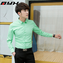 Spring and autumn mens long-sleeved shirt Korean version of the trend of slim fruit green shirt youth night leisure Network red shirt