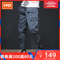 Us TFO outdoor fashion overalls men's new multi-pocket beam feet overalls Summer Slim casual pants men