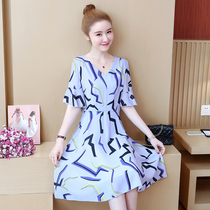 Fat sister Summer was thin new fashion V-neck large size womens temperament chiffon dress print skirt age