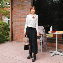 Greasy Ninishare little black cat embroidery wool sweater Female autumn winter 2018 new Slimming Bottom Shirt