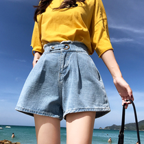 High waist denim shorts female 2019 summer new Korean version was thin wild fat mm large size loose wide leg a word hot pants