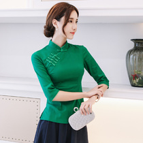 dd133327a31 Chinese cheongsam shirt spring new seven-sleeve Tang suit slim thin daily  improved elastic tea