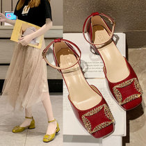 2019 spring and summer square thick with a single shoe female shallow mouth with a word buckle square buckle grandma shoes retro wine red