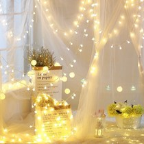 Curtain waterfall stars Lantern String Lights Live Room background decoration romantic bedroom layout gypsophila girl