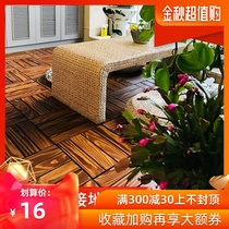 Carbonized wood anti-corrosion wood splicing floor outdoor terrace balcony floor laying courtyard Assembly solid wood parquet