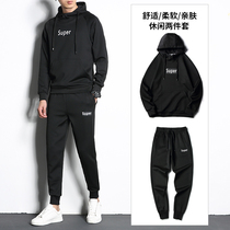 Pure black sweater suit men 2019 new letter printing casual hooded fashion clothes spring and autumn two sets