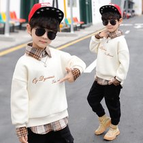 Children's clothing boys plus cashmere sweater autumn and winter 2019 New thickened warm jacket in the child Korean version of the foreign wave