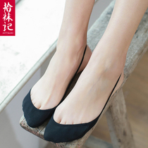 Picking up socks before the half Palm stealth socks female high heels super shallow mouth non-slip strap summer thin section solid color cotton socks