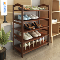 Bamboo shoe rack multi-layer simple dustproof shoe cabinet home put the door economy storage Wood large-capacity indoor good-looking