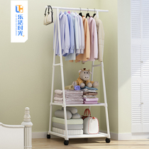 Simple hanger floor bedroom coat rack hanging clothes rack clothes storage rack artifact double rod type shelf cabinet