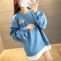 Slightly fat fake two sweater women 2019 autumn Korean version of the new loose fat mm hole students bf Super fire long-sleeved shirt
