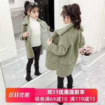 Girls autumn and winter clothes 2019 new Korean children's clothing in children's autumn lambs cashmere thickening plus velvet coat tide