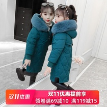 Girls autumn and winter 2019 new Korean children's wear in the long section of thick coat big child children air coat cotton jacket