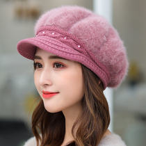 Hat women autumn winter thickened ear warm cap beret duck knitted hat rabbit hair cap wool hat