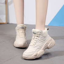 ins Super fire shoes old shoes female 2018 autumn and winter thick Korean version of the high-top sports noodles small Greek bread shoes