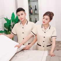 Hotel short-sleeved overalls aunt cleaning workers cleaning staff rooms property summer waiter men and women PA cleaning clothes