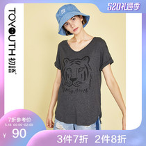 First language 2019 summer new Tiger printing Korean loose bf wind cotton V-neck tide short-sleeved T-shirt female