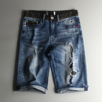 K withdraw goods without Tag New Wave products blue washed slim straight denim shorts NZDK-112