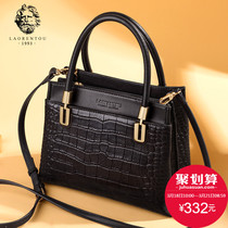 Old man head leather crocodile tattoo handbag woman 2019 New large capacity middle-shoulder temperament single-shouldered mother bag woman