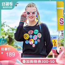 Ma ma ma 绨 2019 autumn New Black fashion wild letter printing stitching sweater women Korean loose shirt