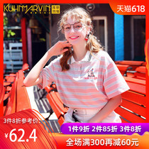 Summer Korean version of the striped half-sleeved Polo shirt female 2019 New loose students short-sleeved Japanese small fresh T-shirt