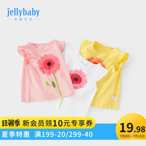 Jerry Beibi baby short-sleeved shirt 0-3 girls T-shirt summer child summer 1-6 one-year-old and half female baby summer dress