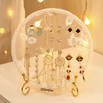 Jewelry display frame ear ornaments hanger tray jewelry props female storage board creative decoration solid wood embroidery shed