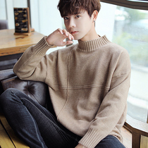 2018 Winter New Mens Korean version of the semi-turtleneck sweater thickening students knitting bottom shirt trend handsome linens