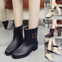 Fashion in the tube rain boots women boots short tube water shoes autumn and winter plus cashmere adult warm non-slip rubber shoes water boots shoes women