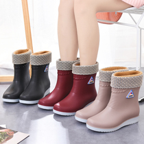 Rain boots womens tube short tube fashion plus velvet thick warm rain boots non-slip water shoes adult rubber shoes shoes boots winter