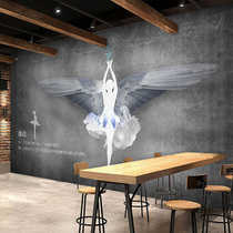 Vintage hand painted ballet music dance room industrial wind background wallpaper 3d clothing store yoga gym wallpaper