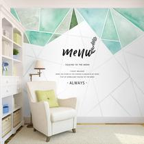 Nordic simple personality geometric wallpaper milk tea shop Coffee Restaurant clothing store Art mint green background wallpaper