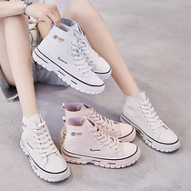 Sports white shoes women 2019 new autumn shoes net red wild autumn ins high to help casual canvas tide shoes autumn models