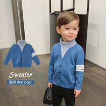 Chen Chen mother baby children's clothing autumn and winter models children's turtleneck sweater foreign style fake two college wind boy sweater shirt