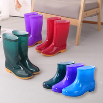 Four seasons plus cashmere warm rain boots womens tube short tube low to help water shoes mens hotel kitchen car wash non-slip wear-resistant rain boots