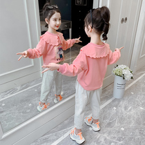 Net red girls spring suit yangqi 2020 new Korean version spring girl clothes children sweater two sets