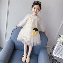 Girls dress 2020 new spring and autumn children's wear fluffy yarn spring dress children's dress little girl princess dress