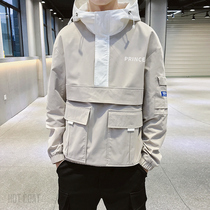 Mens coat spring and autumn models Korean version of the trend of autumn clothes on the mens hedging hooded casual tooling Jacket Handsome