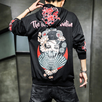 Embroidery spring and autumn mens sweater trend personality mens jacket autumn loose casual coat youth clothes