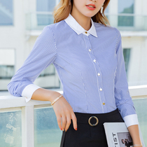 3ac48ce3659 Blue and white striped shirt womens long-sleeved striped shirt autumn  professional shirt interview Dress