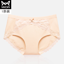 MiiOW cat girl girl underwear female cotton crotch summer thin section breathable mid-rise large size lace ladies underwear