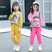 Girls autumn Set 2019 New children's style fashion sports two-piece girls fashion tide children's clothing spring and autumn