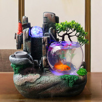 Waterwheel feng shui round ball small fish tank perpetual motion machine tea table coffee table on the rockery windmill cycle long water ornaments